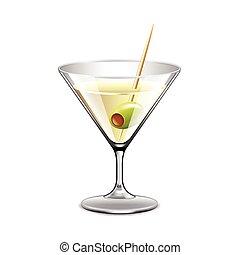 verre, blanc, vecteur, isolé, martini