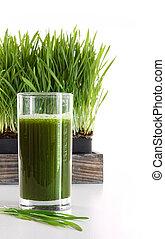 verre, blanc, wheatgrass