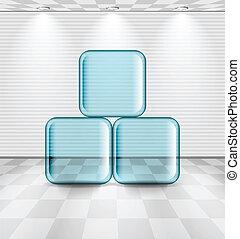 verre, blanche salle, plaques