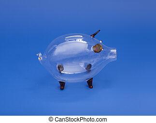 verre bleu, banque, porcin, fond