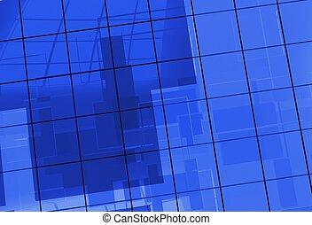 verre bleu, blocs, fond