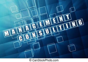 verre bleu, consultant, gestion, cubes