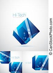verre bleu, cube, fond