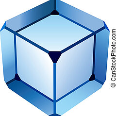 verre bleu, cube, vecteur