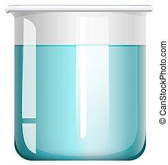 verre bleu, gobelet, liquide