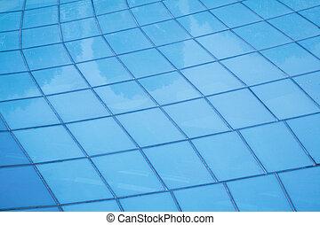 verre bleu, mur, fond