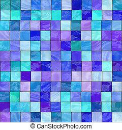 verre bleu, taché