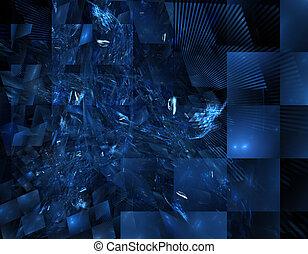 verre bleu, taché, fractal
