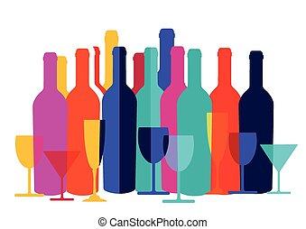 cocktail verre champagne bouteille vin alcool plat clip art vectoriel rechercher. Black Bedroom Furniture Sets. Home Design Ideas