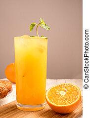 verre, bois, croissant, jus, orange, frais, panneau