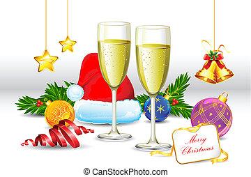 verre, boisson, noël, élément