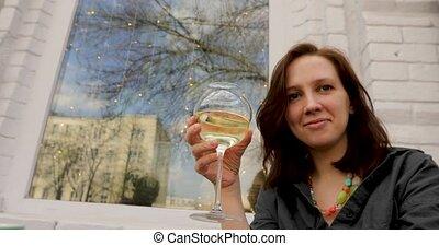 verre, boisson, rafraîchissant, femme, séduisant