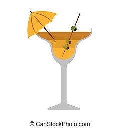 verre, boisson, silhouette, cocktail, coloré