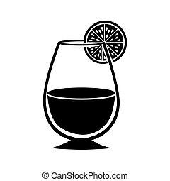 verre, boisson, silhouette, cocktail, monochrome
