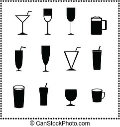 verre, boissons, icônes, boissons