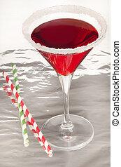 verre, bord, fraise, cocktail, sucre