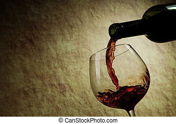verre, bouteille rouge, vin