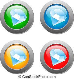 verre, bouton, diamant, ensemble, icône