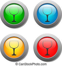 verre, bouton, ensemble, gobelet, icône
