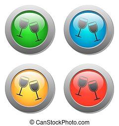 verre, bouton, ensemble, gobelets, icône
