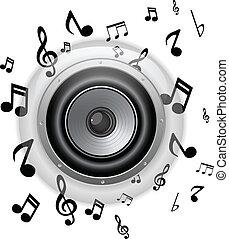 verre, bouton, orateur, notes, musique