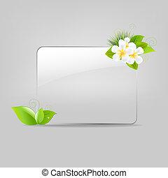 verre, cadre, fleurs, pousse feuilles