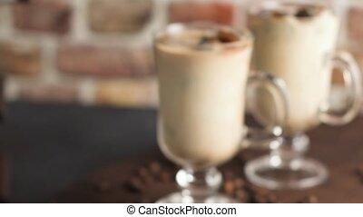 verre, café, pots, glacé