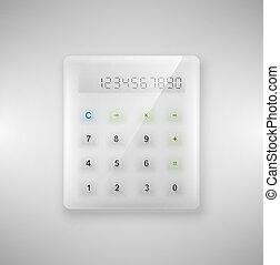 verre, calculatrice