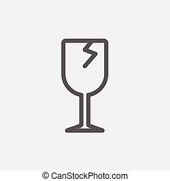 verre cassé, ligne mince, vin, icône