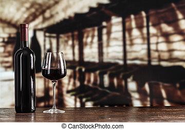 verre, cave, arrière-plan rouge, vin