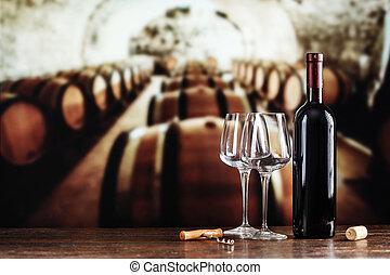verre, cave, bouteille, vin