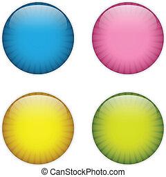 verre, cercle, bouton, coloré, raies