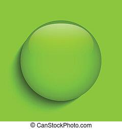 verre, cercle, vert, bouton, icône