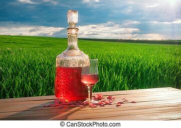 verre, champ, table verte, herbe, vin