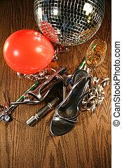 verre, champagne, chaussures, fête, plancher