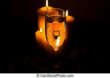 verre champagne, lumières, bougie, anneau
