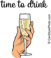 verre, champagne, vin, tenant main