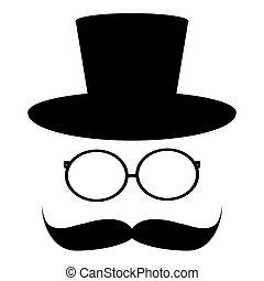 verre, chapeau, moustache