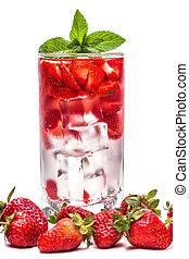 verre, closeup, cocktail, fraise