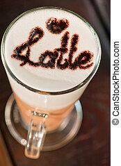 verre, closeup, latte