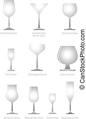 verre, collection, alcoolique