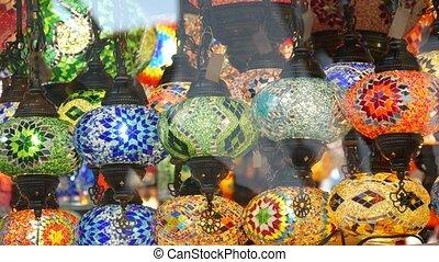 verre, coloré, islamique, oriental, turc, lanterns., beaucoup, arabe, retro, métier, oriental, milieu, brillant, lights., mosaïque, éclairé, coloré, style, authentique, magasin, multi, marocain, folklorique, decor., lampes, glowing.