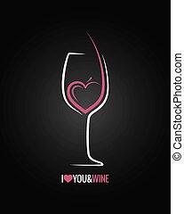 verre, concept, fond, vin