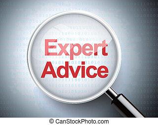 verre, conseil, mots, expert, magnifier
