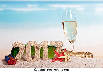 verre, contre, etoile mer, dons, 2017, figures, sea., bouteille, champagne
