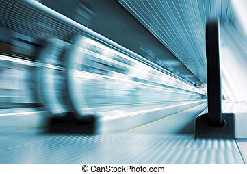 verre, cor, en mouvement, escalator, métro
