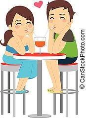 verre, couple, amour, boire, même