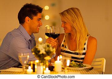 verre, couple, apprécier, vin