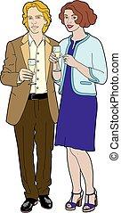 verre, couple, champagne