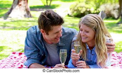 verre, couple, champagne, tenue